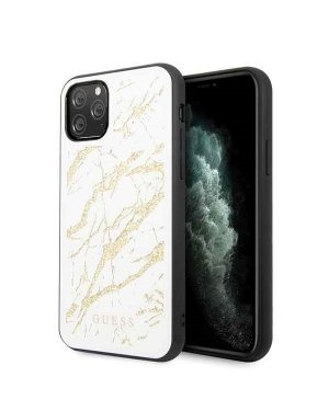 iPhone 11 Pro Mobilskal - Glitter Marble Glass - GUESS - Vit