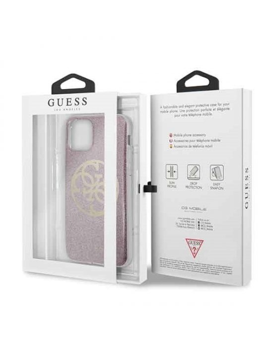 iPhone 11 Mobilskal - Circle Glitter - GUESS - Rosa