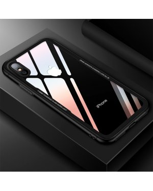 iPhone XS Glass Case X - Härdat glas  - Svart