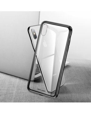 iPhone XS Glass Case - Härdat glas - Svart