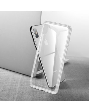 iPhone XS Glass Case - Härdat glas - Vit