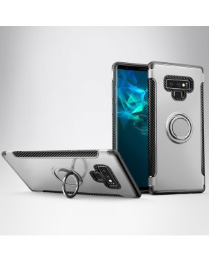Galaxy Note 9 Magnetic Armor skal - Vridbar ringhållare - Silver