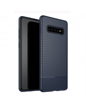 Galaxy S10 Plus Carbon Fiber skal - Blå