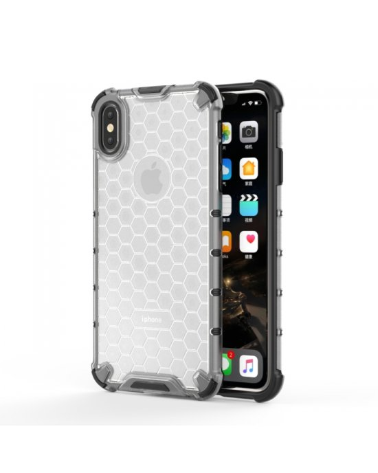 iPhone Xs Max Mobilskal - Honeycomb - Transparant
