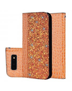 Galaxy S10 Plus Mobilfodral - Krokodilskinn - Glitter - Orange